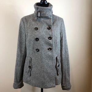 Ruehl No. 925 Gray Wool Blend Buckle Neck Peacoat